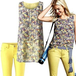 CAbi Positano Layered Floral Tank S yellow #5041